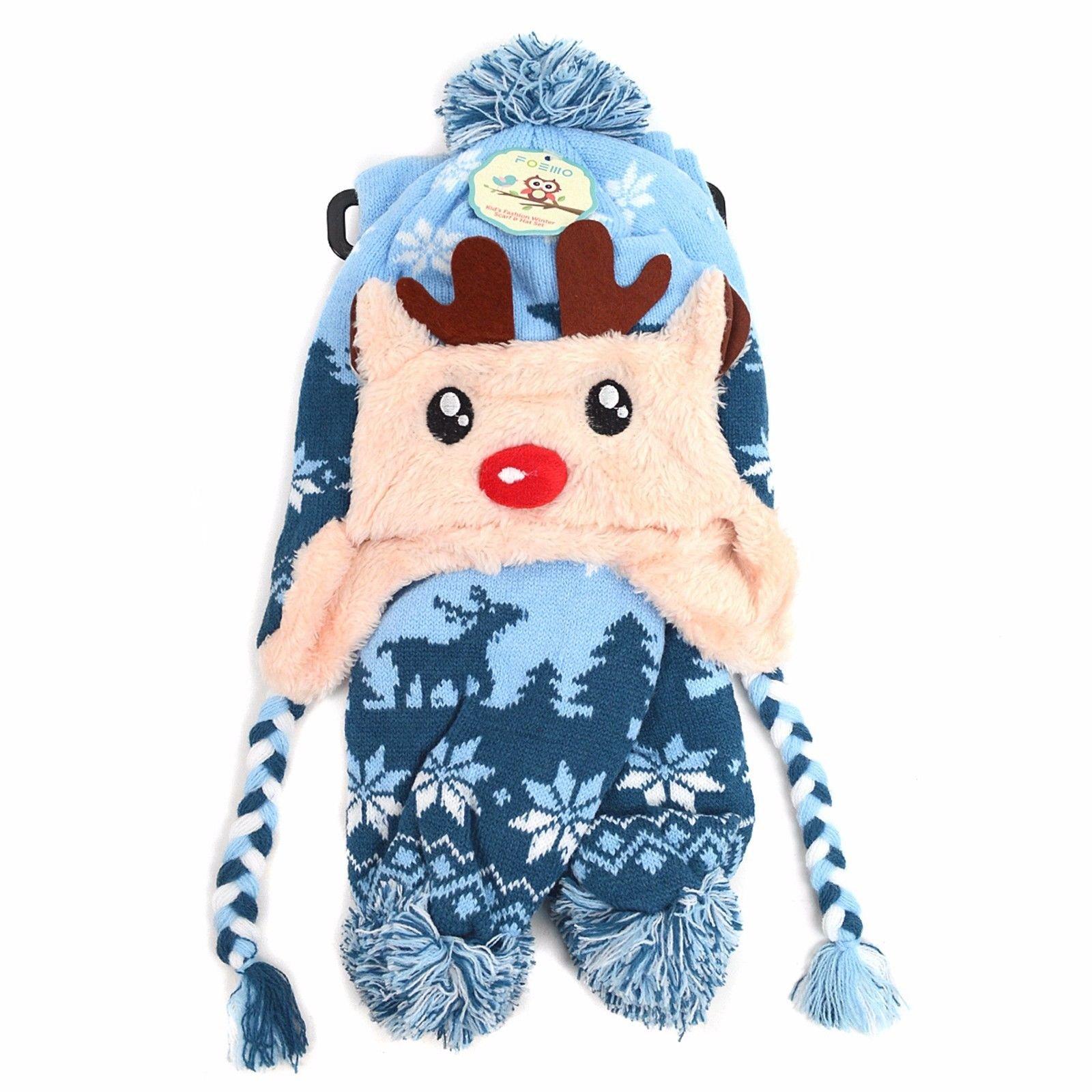 d7b703811 Details about Kid's Scandinavian Reindeer Trapper Hat and Scarf Winter Set  (KKWS1732)