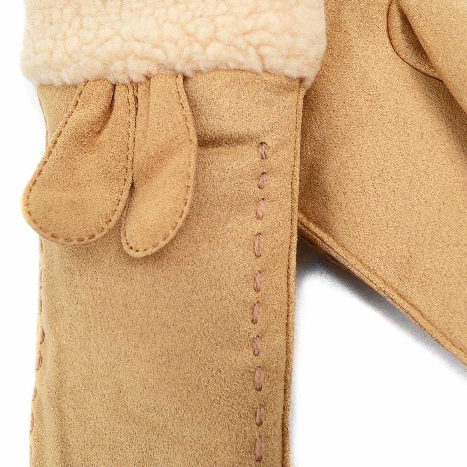 LWG04 Ladies' Winter Vegan Suede Mittens with Faux Fur Lining