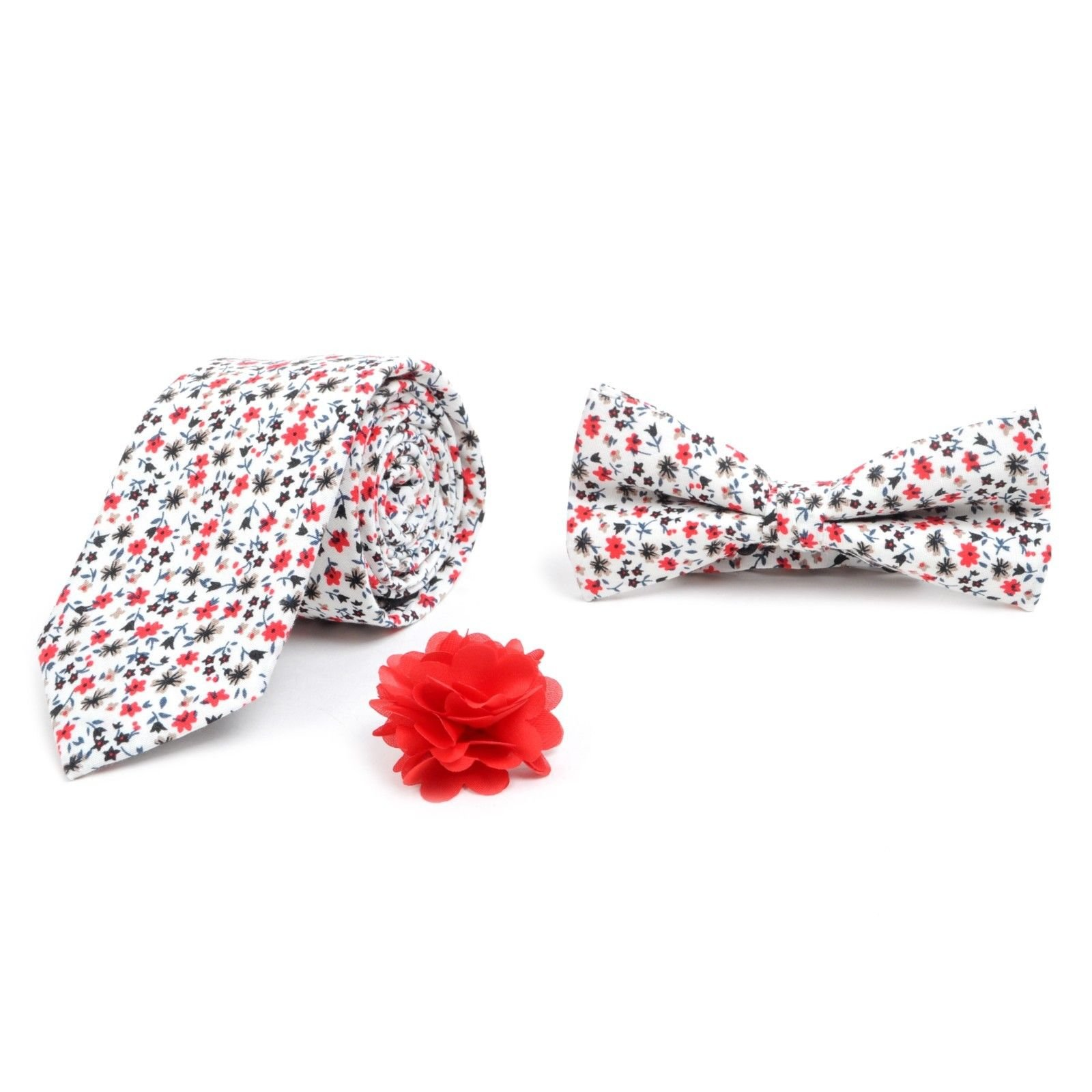 Men-s-Boxed-Floral-Cotton-Slim-Tie-Banded-Bow-Tie-and-Lapel-Pin-Boutonniere-SET