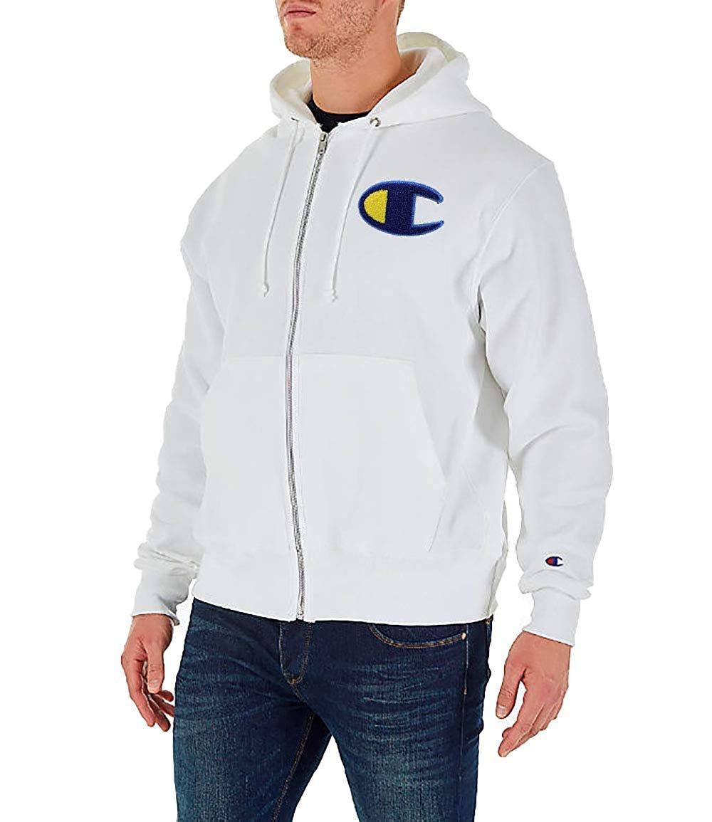 Champion De La Vie Homme Reverse Weave Full-zip Sweat à Capuche (small, Blanc/chenille C Logo)-afficher Le Titre D'origine