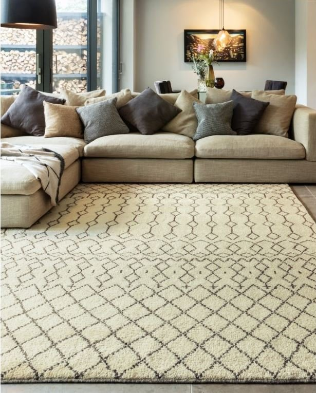 Geometric Hand Knotted Wool Area Rugs