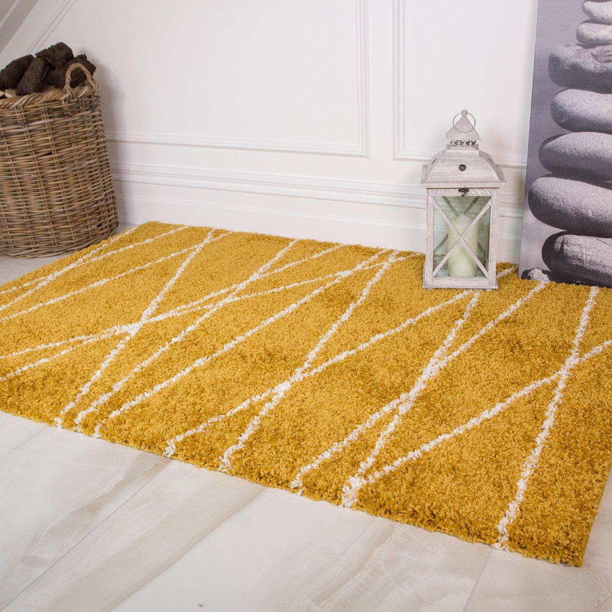 Ochre Yellow Mustard Zig Zag Chevron Geometric Fluffy Shaggy Thick Area Rugs Ebay