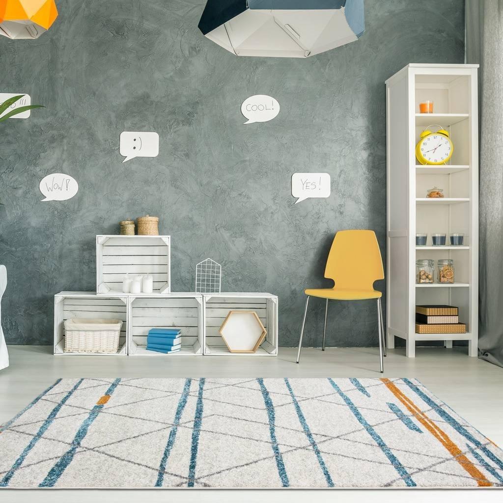 Details about Rio Modern Geometric Scandinavian Cream Off White Duck Egg  Blue Living Room Rug