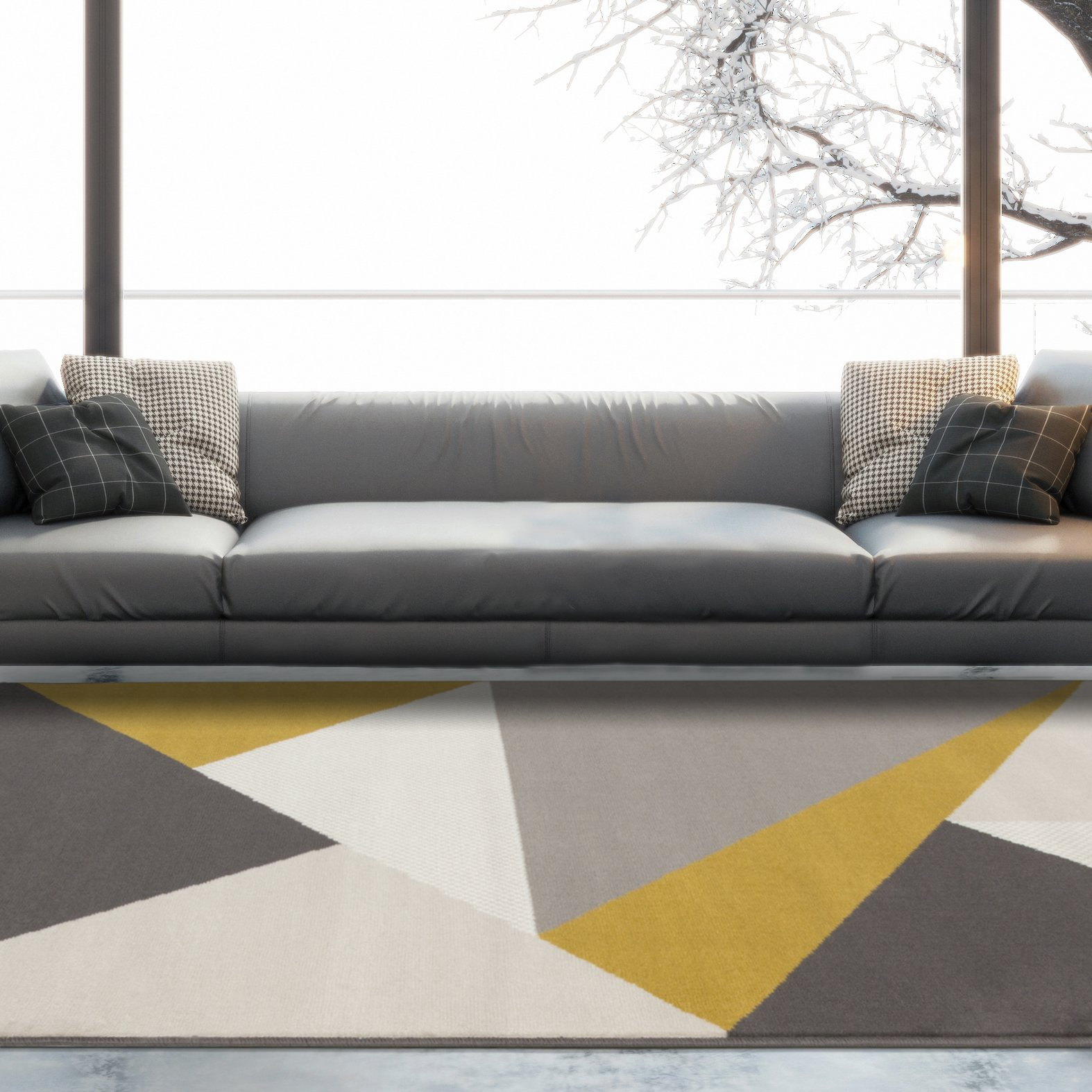 Graphite Gray Yellow Area Rugs Best Low