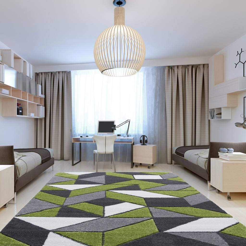 Rio Green Gray Geometric Tiles Mosaic Modern Design Living Room Area ...
