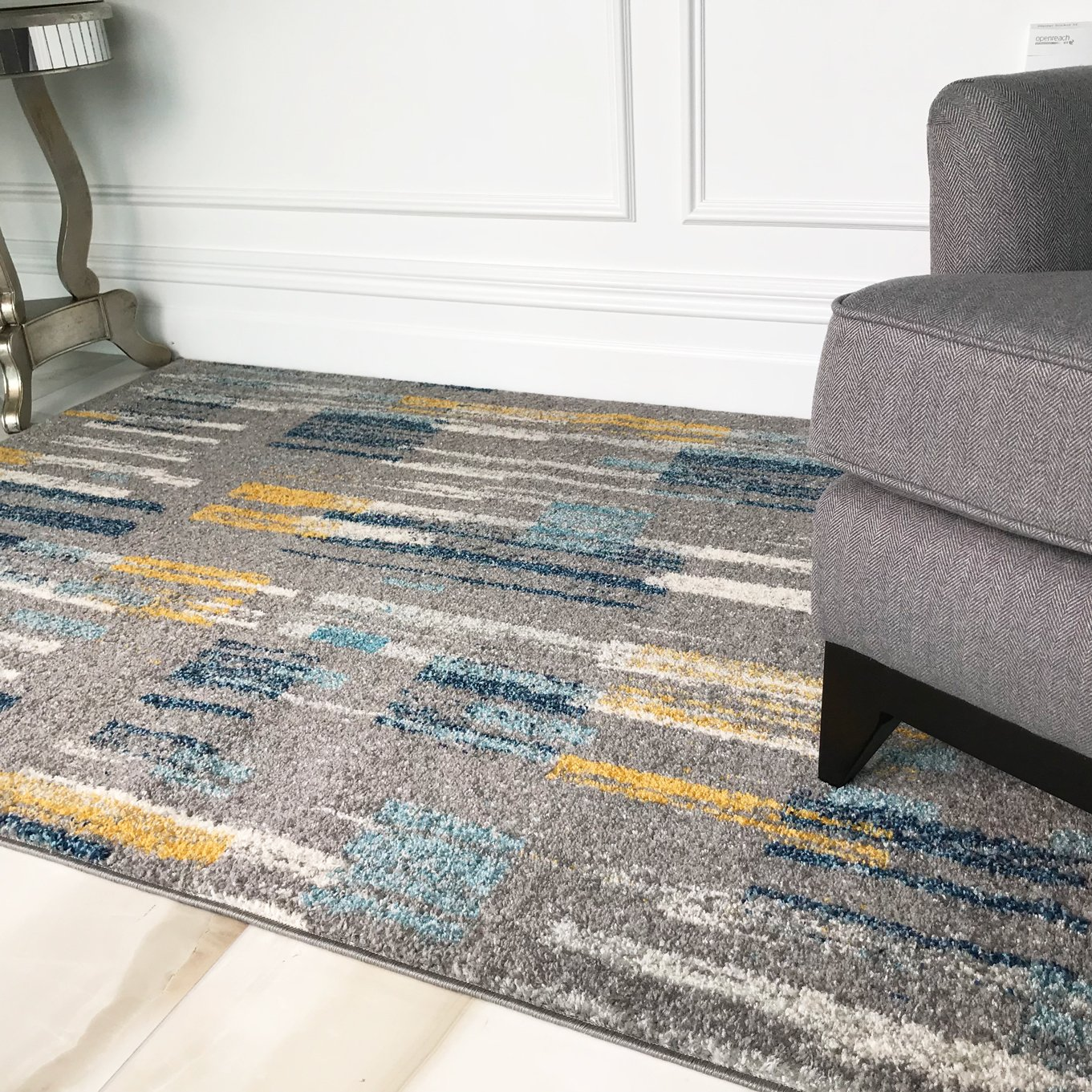 Details about Blue Yellow Paint strokes Striped Living Room Rugs Artistic  Non Shed Area Mat