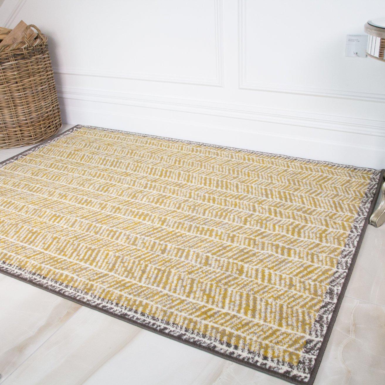 Rugs Carpets Yellow Mustard Grey Bordered Geometric Runner