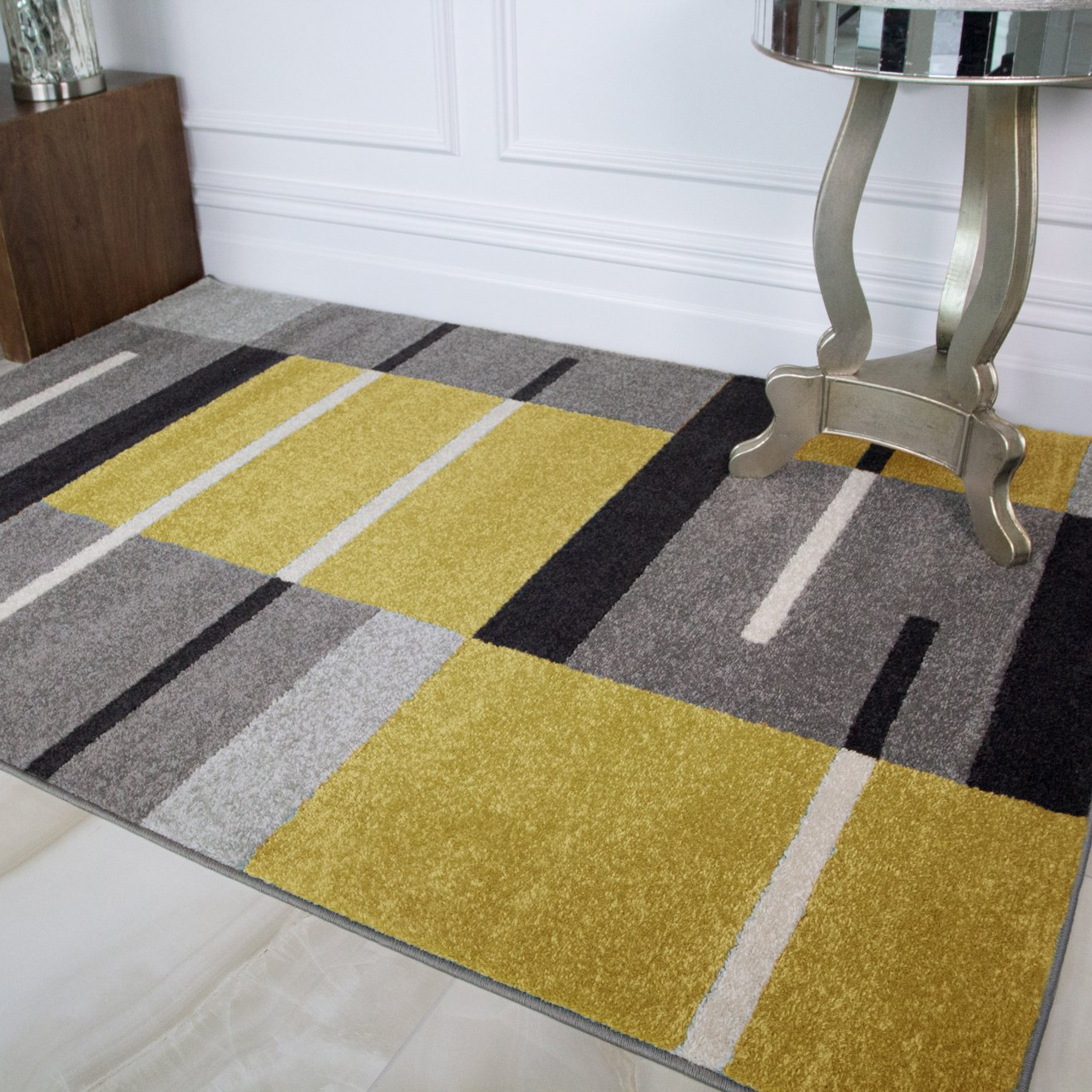 Details About Small Large Ochre Yellow Patchwork Rugs Gray Geometric Bohemian Living Room Rug