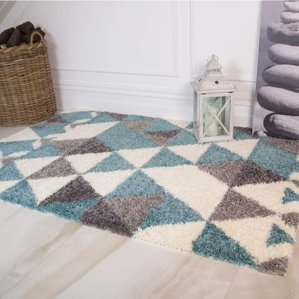 Details About Duck Egg Blue Gray Living Room Rugs Modern Geometric Gy Anti Shed Area Rug