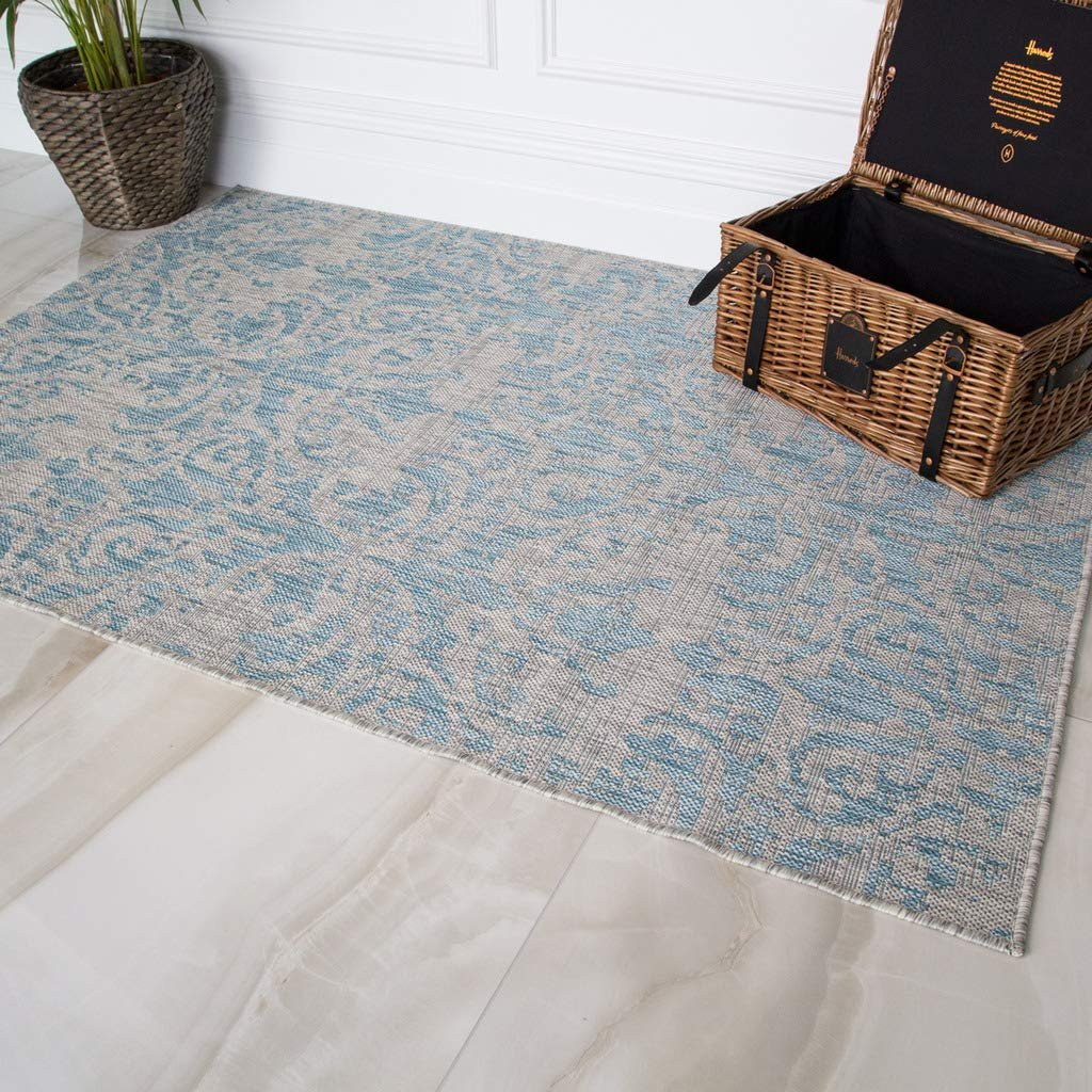 Details About Machine Washable Distressed Floral Blue Area Rug Indoor Outdoor Rug Bbq Cheap
