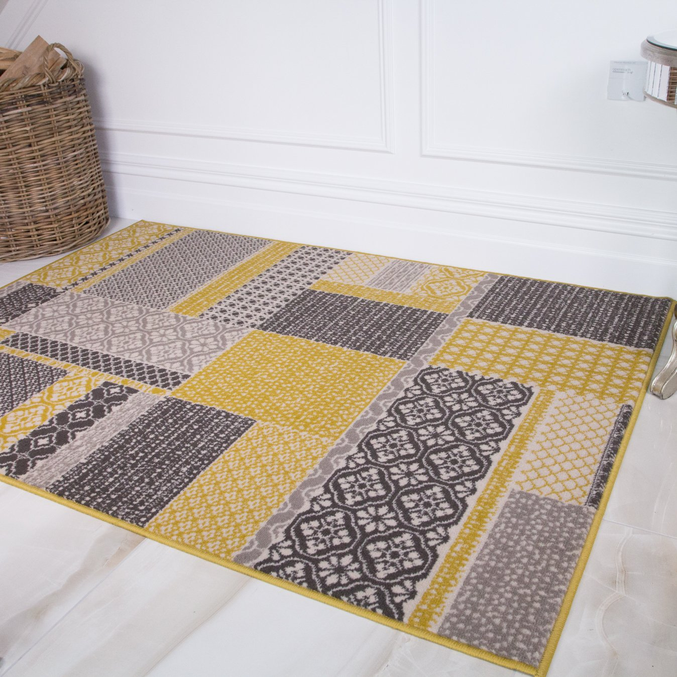 Ochre Yellow Contemporary Patchwork Area Rugs Small Large Rug For Dining Room Ebay