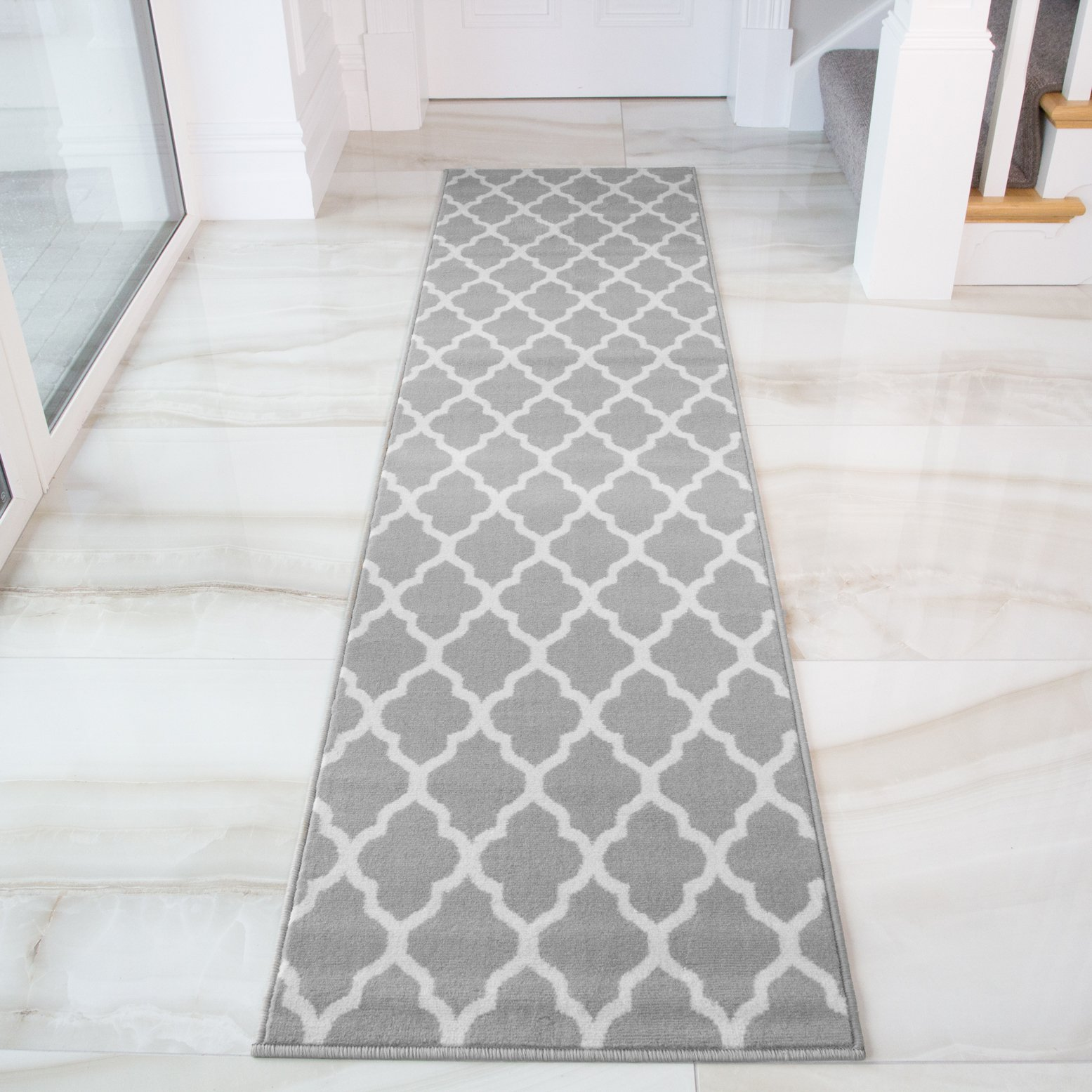 Details About Gray Runner Rugs Runners For Hallway Moroccan Trellis Carpet Runners