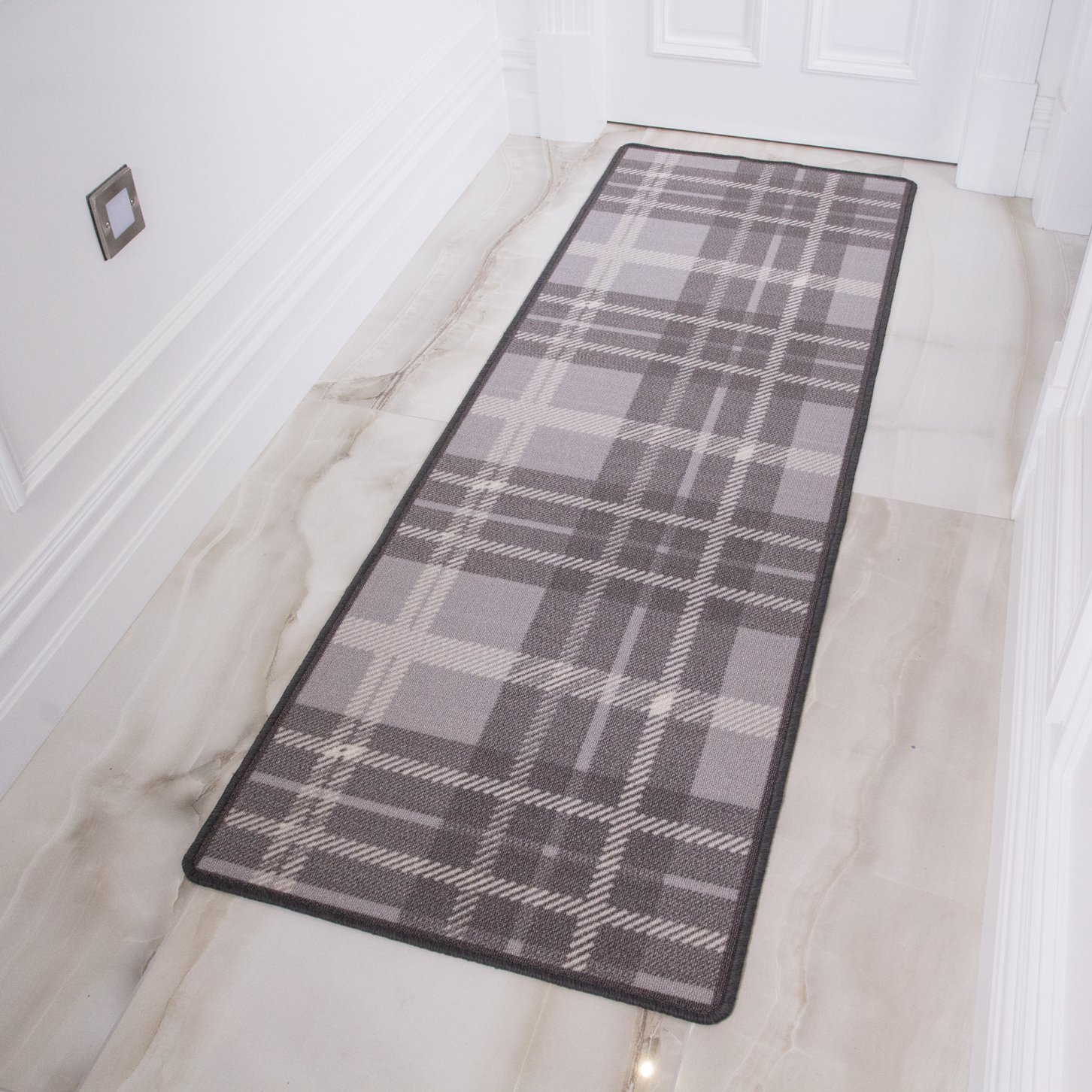 Gray Tartan Washable Non Slip Cheap Stain Resistant Hallway Kitchen Mat Area Rug Ebay
