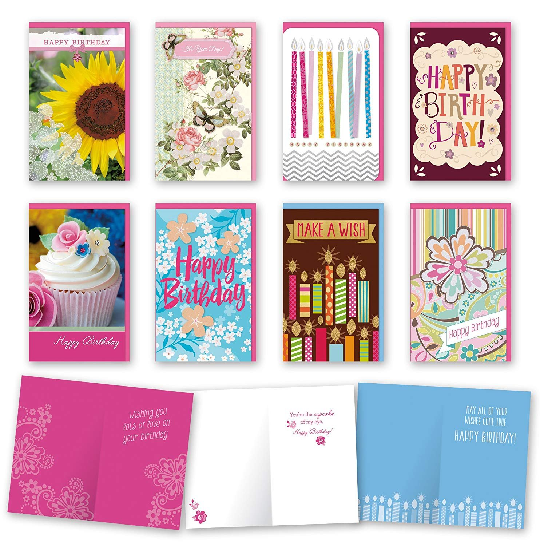 Assorted Feminine Birthday Cards Bulk Card Set Of 8 With Envelopes