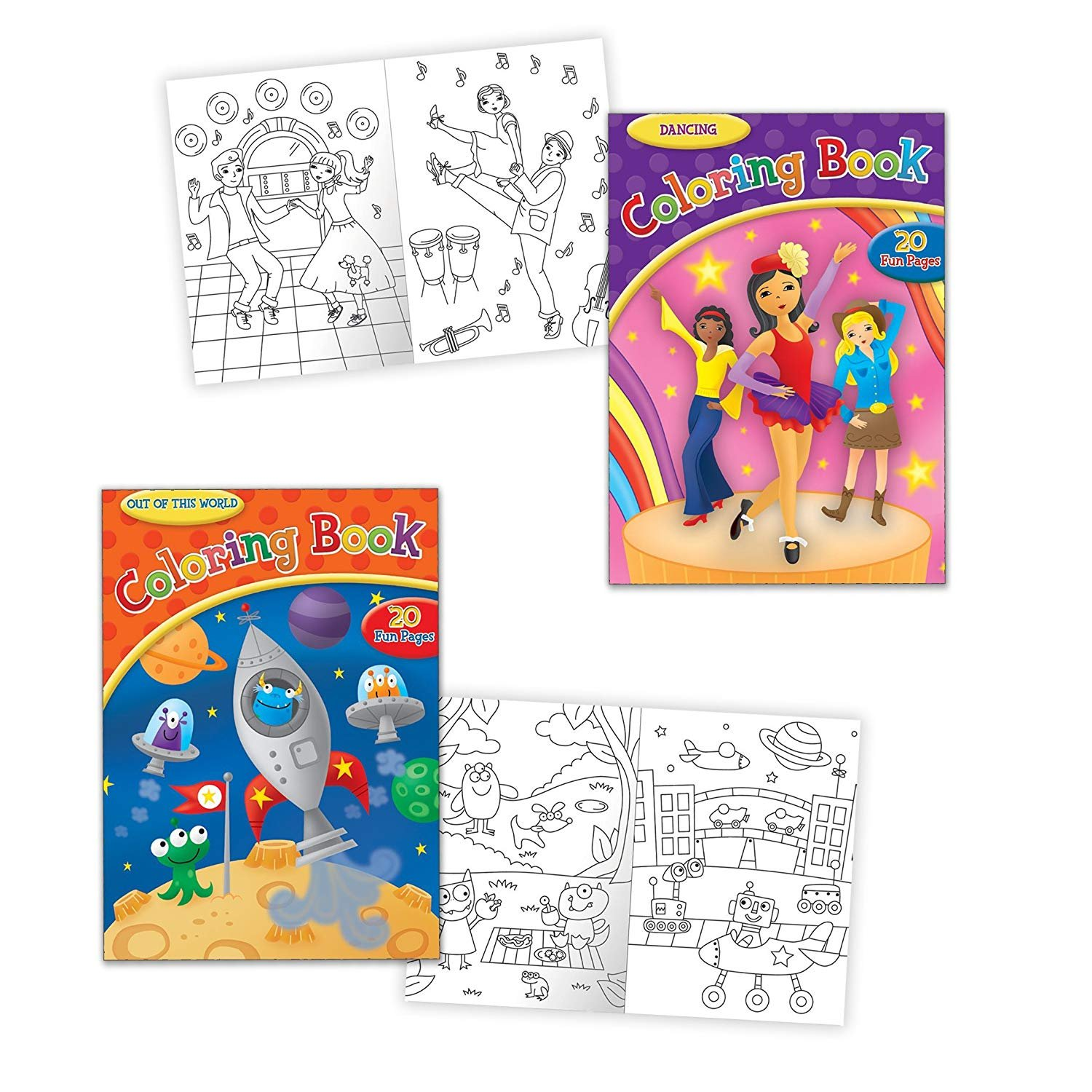 - Pack Of 2 Children's Coloring Activity Books - Dancing Themed