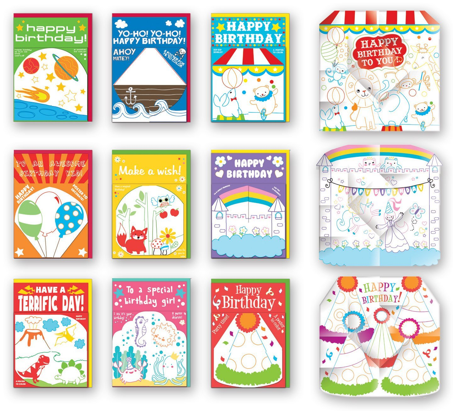 Assorted Poster Birthday Cards Bulk Card Set Of 9 With Envelopes Large