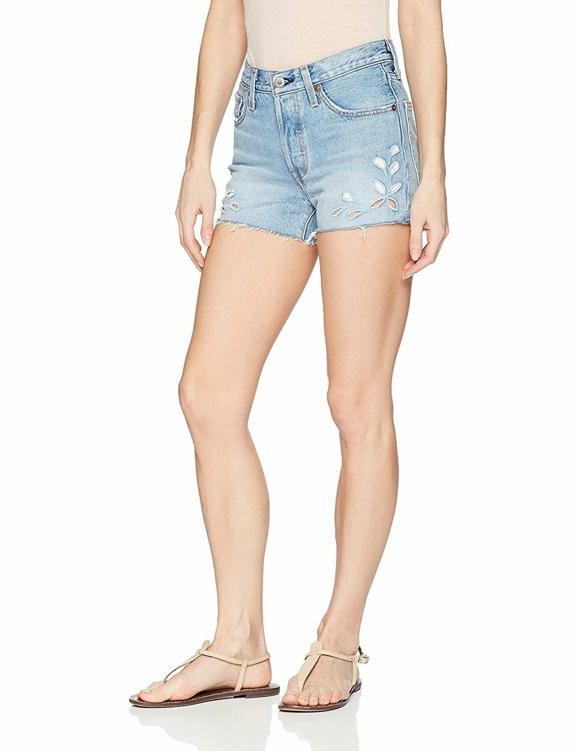 1e21086b Details about LEVI'S 501 $55 Floral Distressed Frayed Hem Denim Jean Shorts  31 (12) NWT