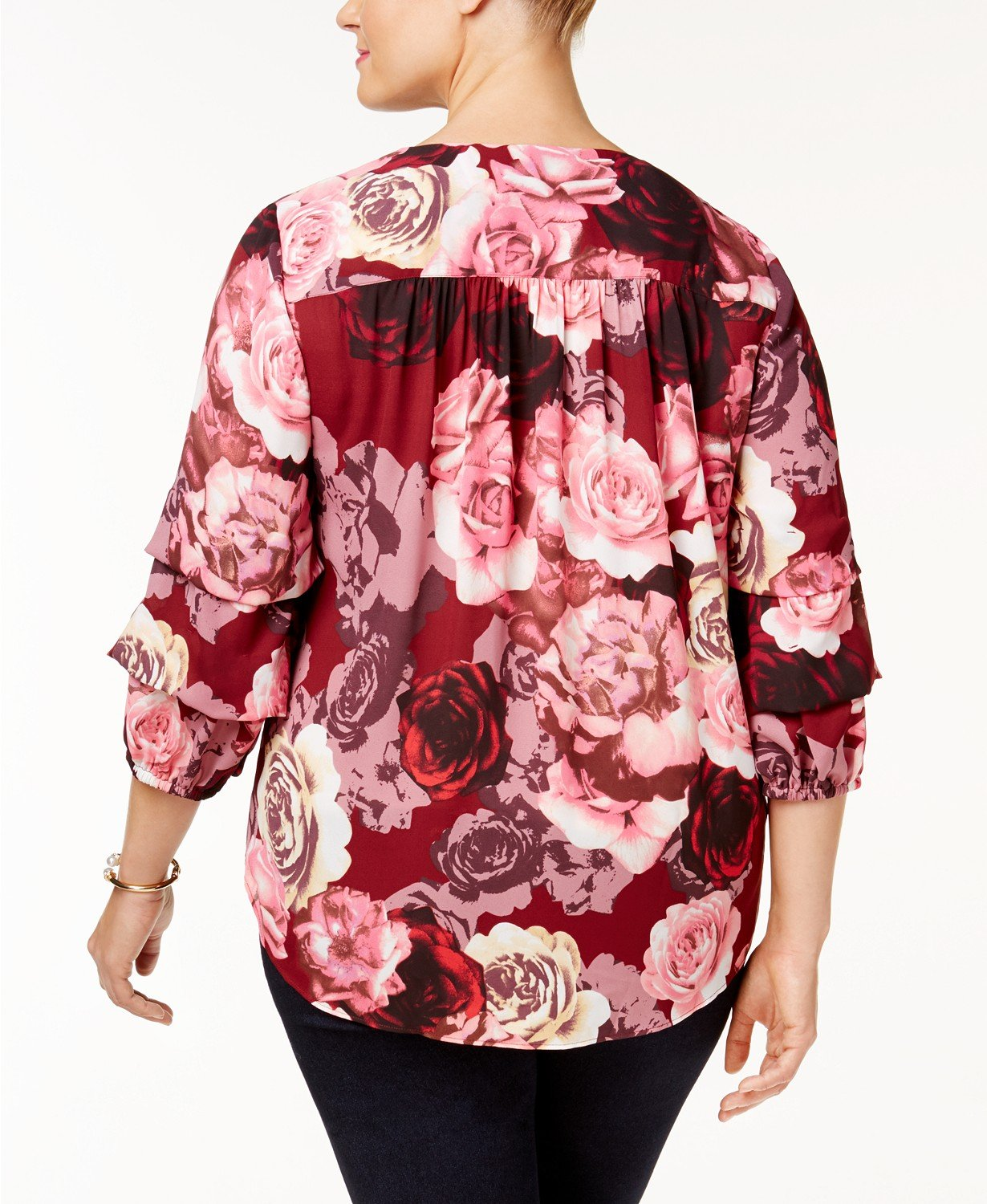 ec2a3dc0fb25c INC International Concepts Red Pink Floral Roses Blouson Sleeve 1X ...