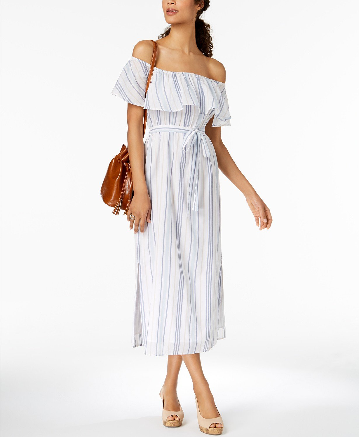 8bc34fd5b323 Details about STYLE   CO Off the Shoulder Stripe Midi Dress Ruffle Blue  White XL NWT  69