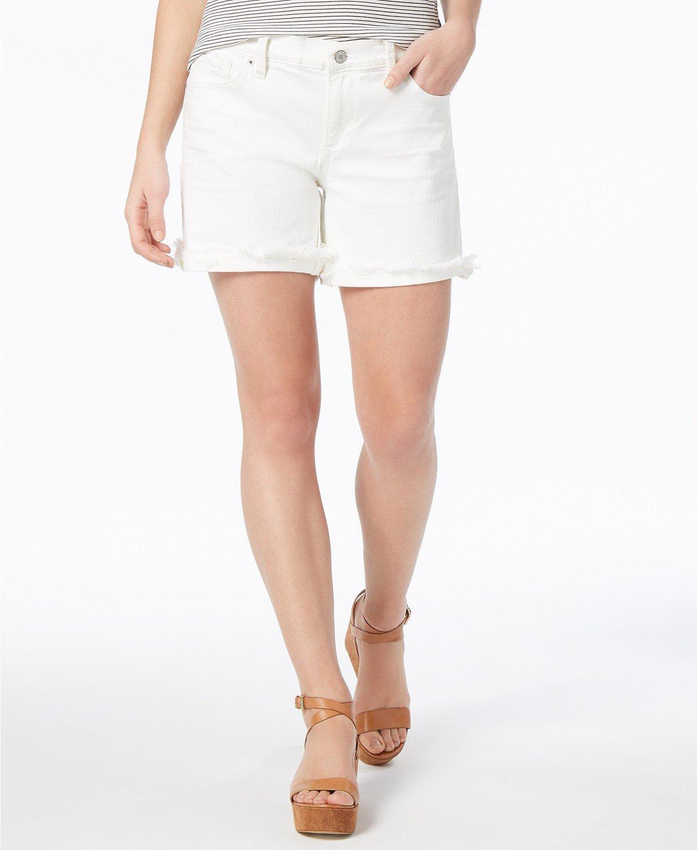 7cf9e6d8e7b Lucky Brand  50 Midi Ripped Frayed Hem White Denim Jean Shorts 26 2 27 4 NWT