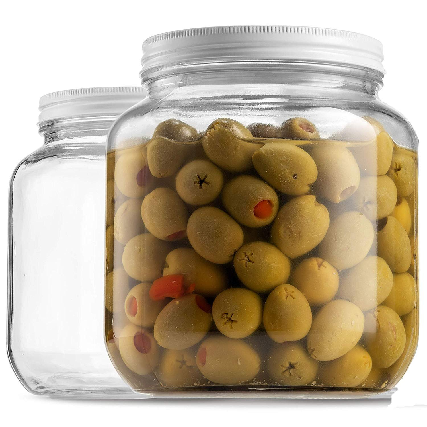 2124fad032f5 Details about Half Gallon Glass Mason Jar (64 Oz) Wide Mouth with Metal  Airtight Lid, USDA...