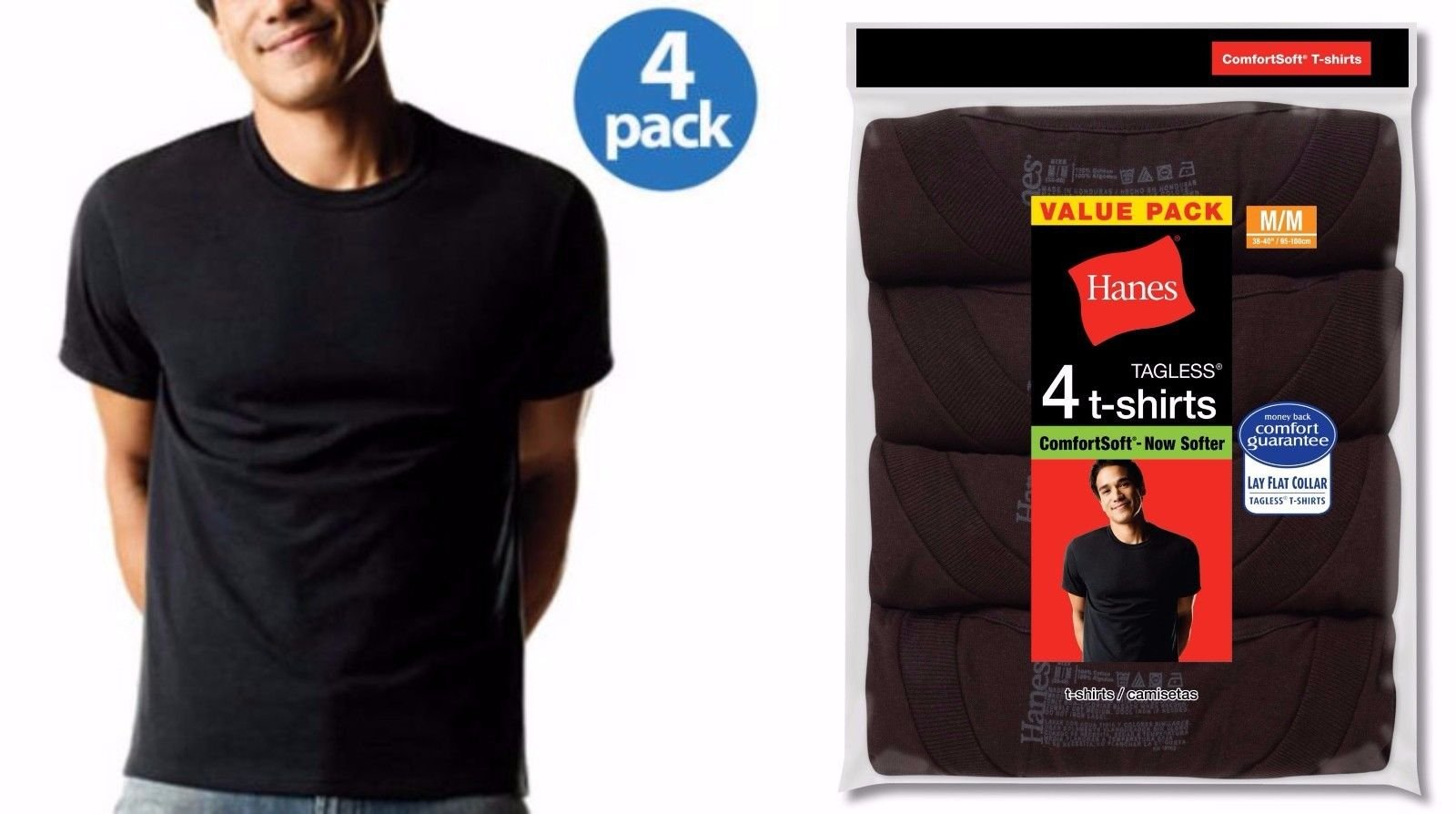 Hanes black t shirts xxl - Hanes Men 39 S Crew Neck T Shirts 4 Pack Sizes M
