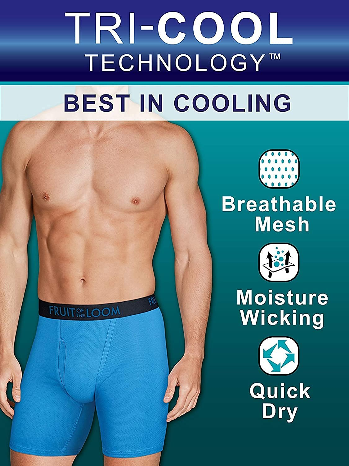 thumbnail 9 - Fruit of the Loom Men's Breathable Boxer Briefs 12-Pack Performance Stretch