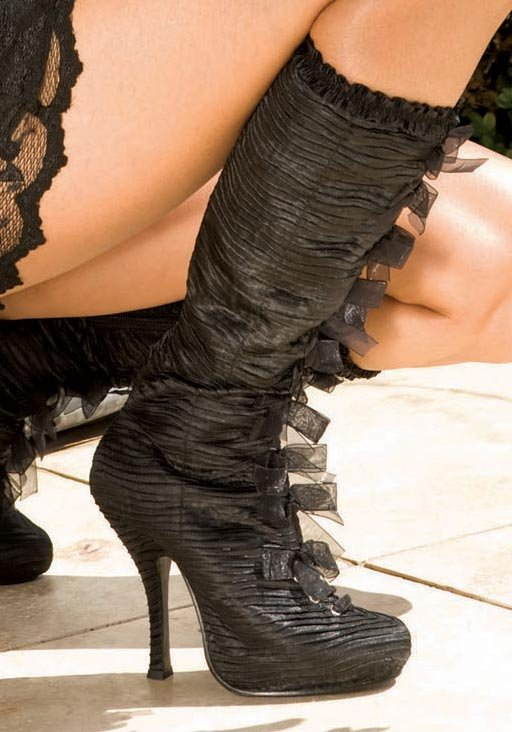 Women-039-s-4-Inch-Heel-Satin-Knee-Boots-With-Inner-Zipper-And-Ribbon-Lace-Up-Detail thumbnail 4