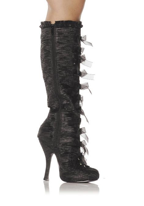 Women-039-s-4-Inch-Heel-Satin-Knee-Boots-With-Inner-Zipper-And-Ribbon-Lace-Up-Detail thumbnail 3