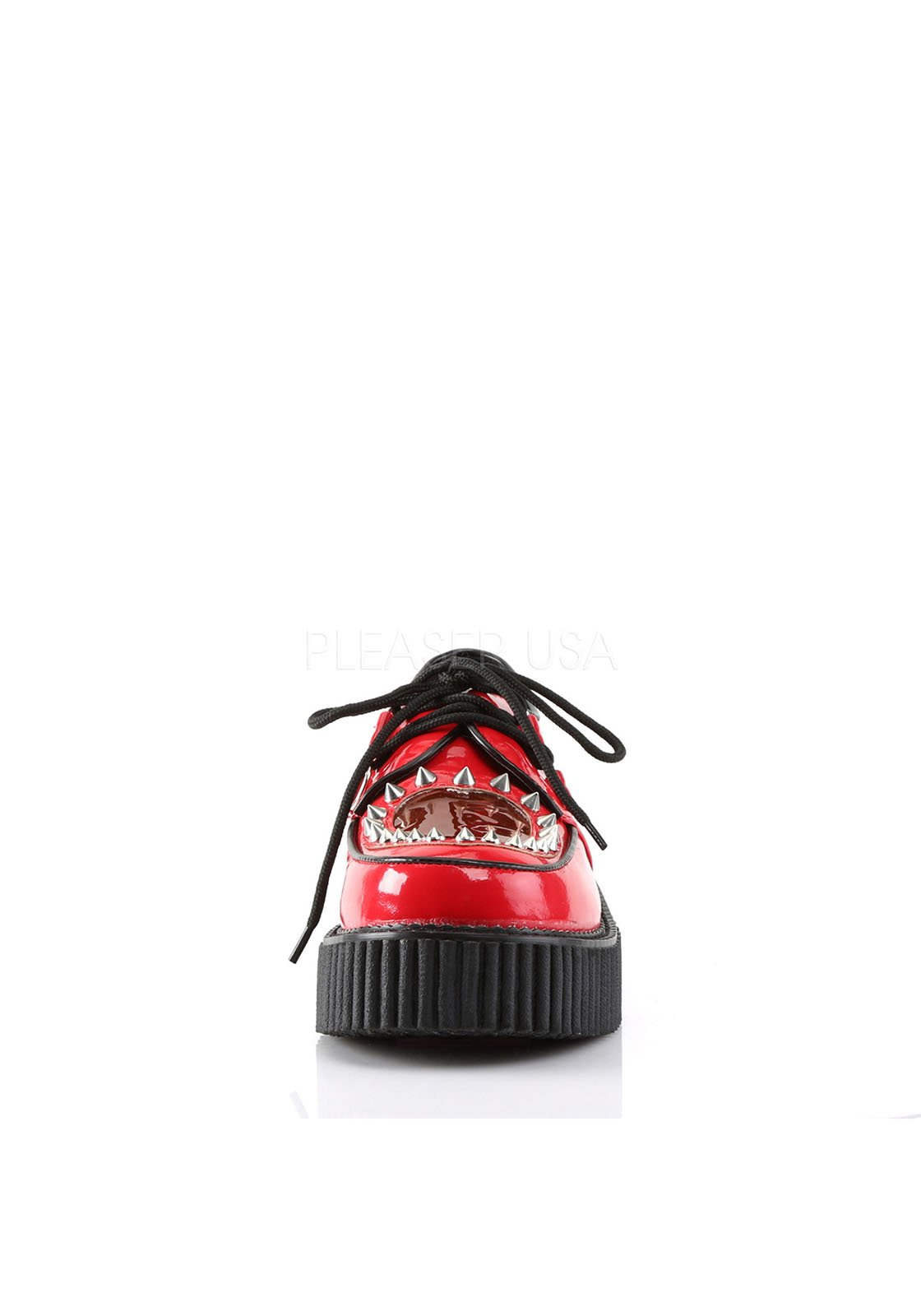Demonia CREEPER-108 Red Platform Casual Heart Cutout Spikes Flat Oxford Shoes