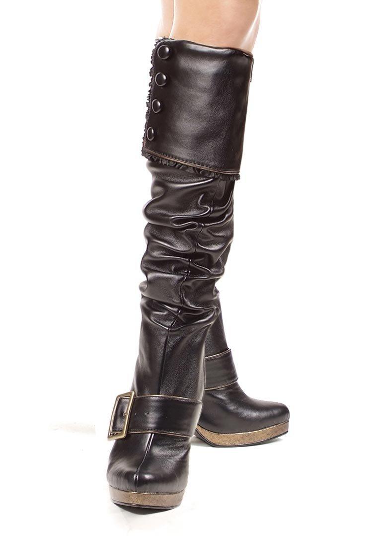 Para mujeres mujeres mujeres botas hasta la rodilla tacón de la hebilla de 4 pulgadas con ribete de volantes y abotonada Plegable de88f2