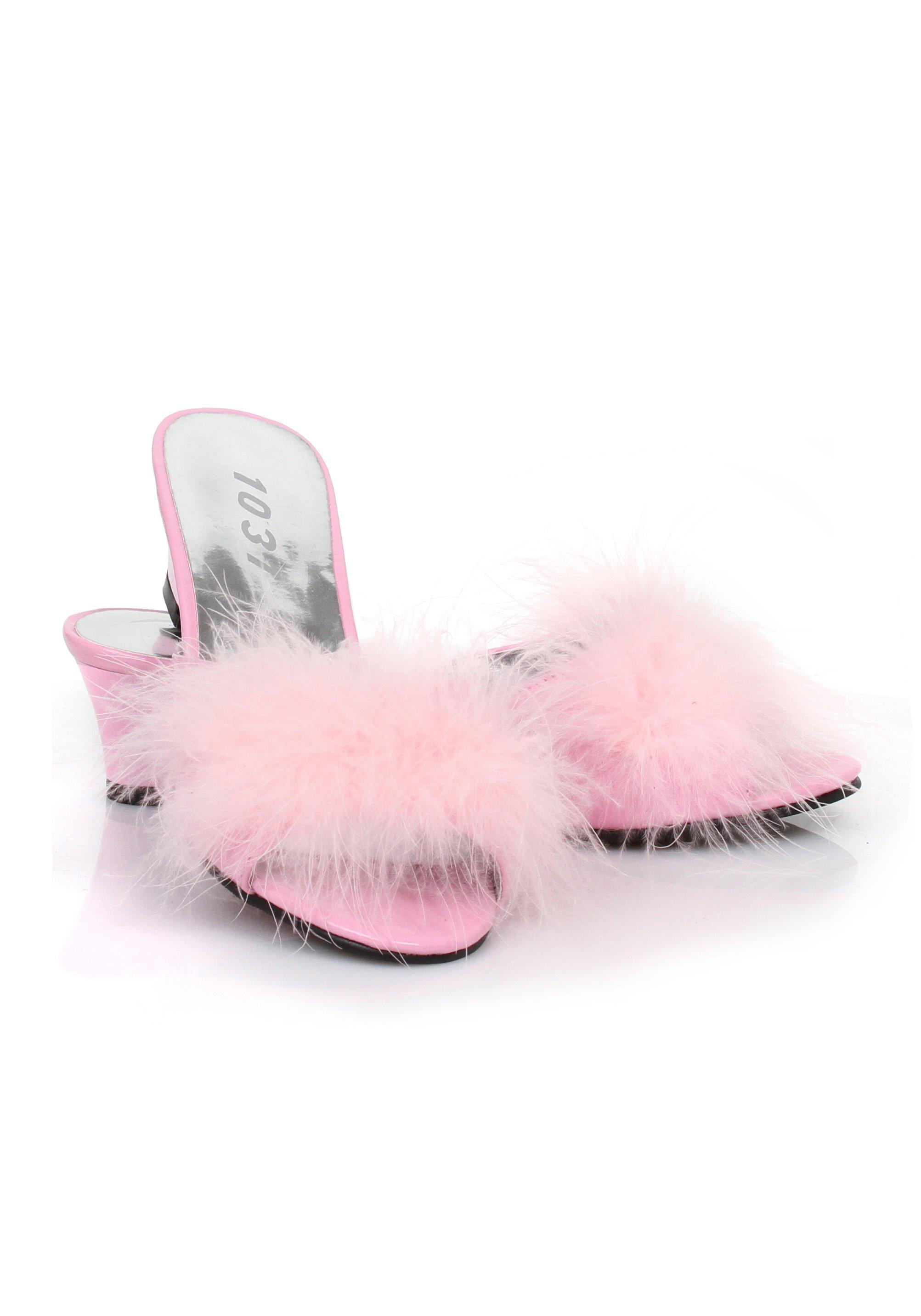 b6189cba805 Ellie Shoes PHOEBE 2.5 Inch Heel Satin Marabou Slippers Women S Size ...