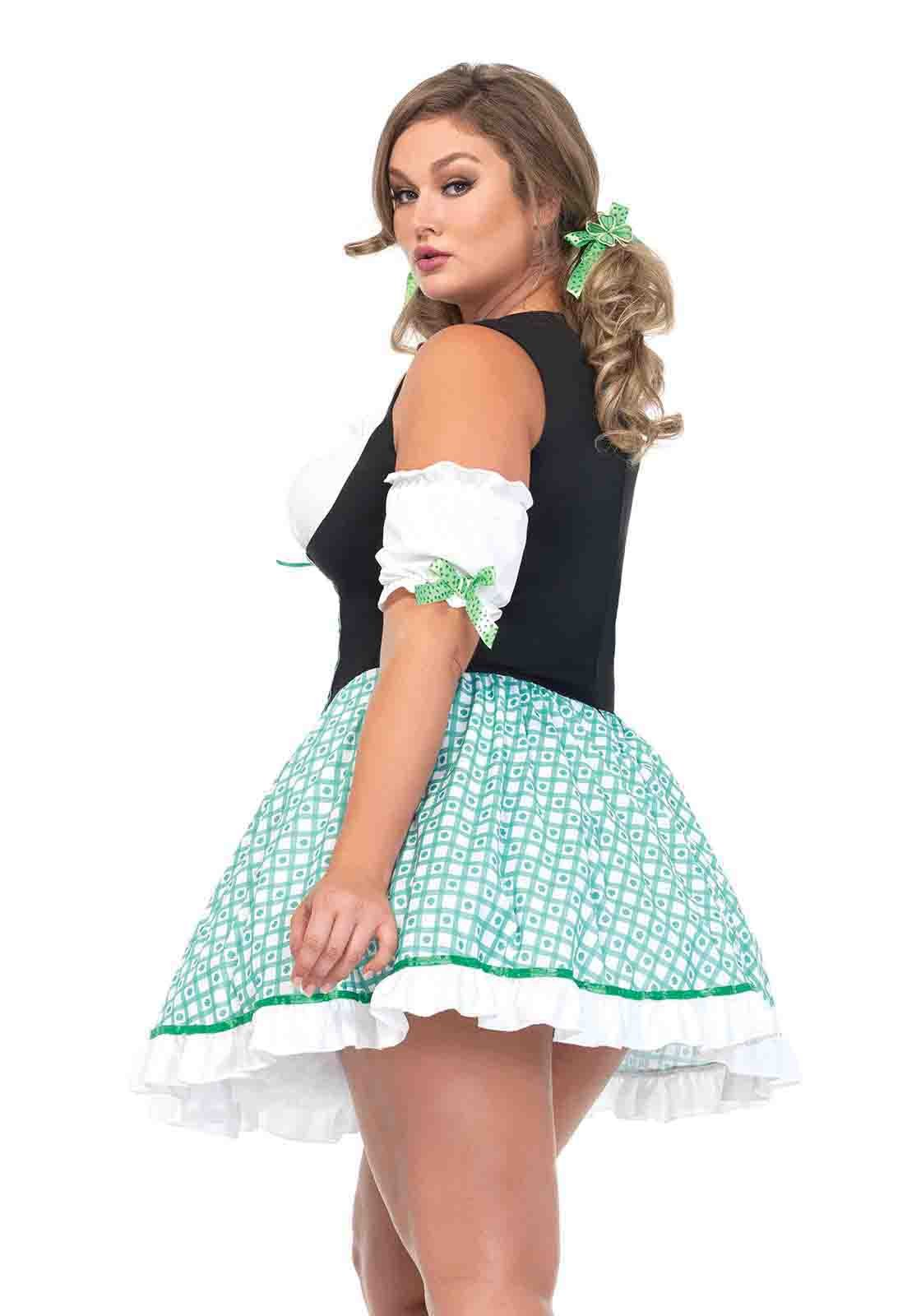 2Pc.Plus Size Clover O\'Cutie, Peasant Dress With Puff Sleeves, Hair ...