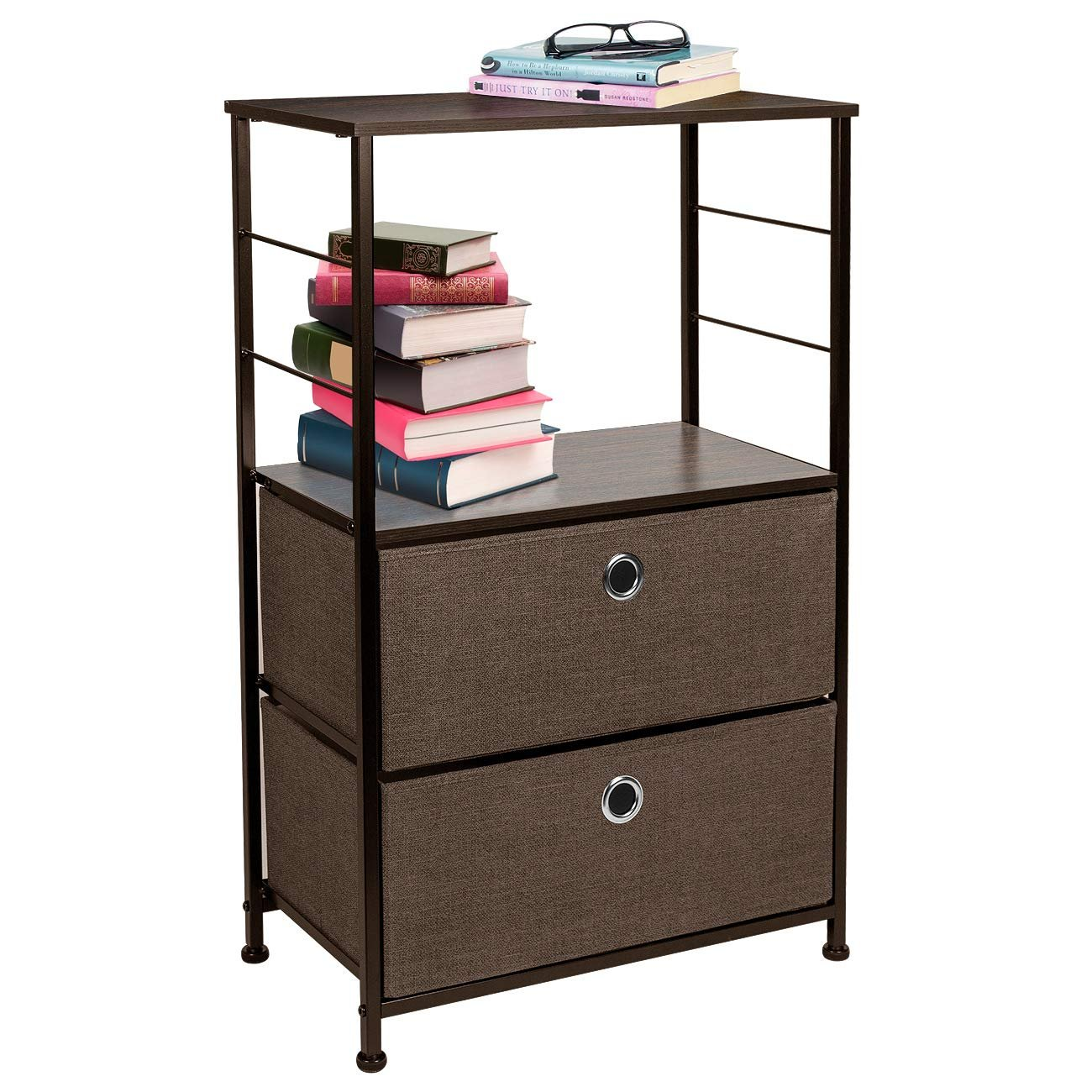 Details About Sorbus Nightstand 2 Drawer Shelf Storage Bedside Furniture Accent End