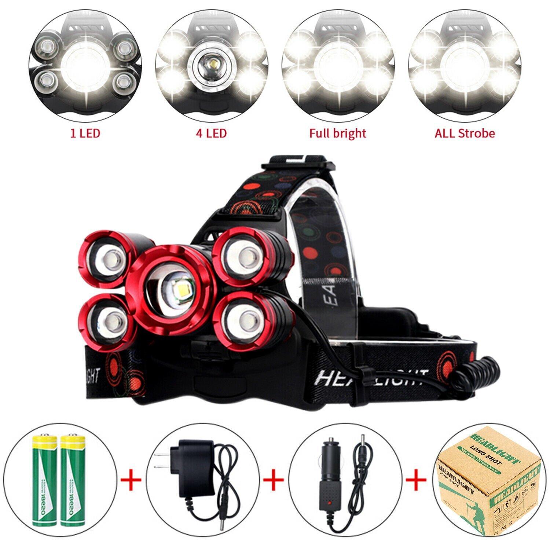 90000LM-5-Head-XM-L-T6-LED-Headlamp-Long-Shot-Headlight-Flashlight-Head-Torch thumbnail 15