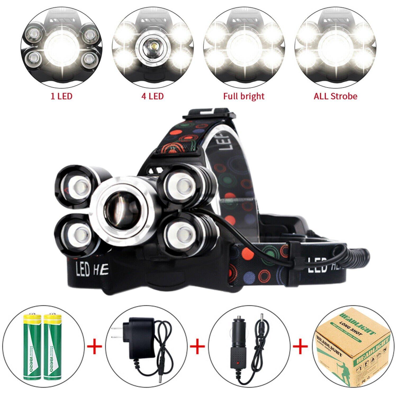 90000LM-5-Head-XM-L-T6-LED-Headlamp-Long-Shot-Headlight-Flashlight-Head-Torch thumbnail 18