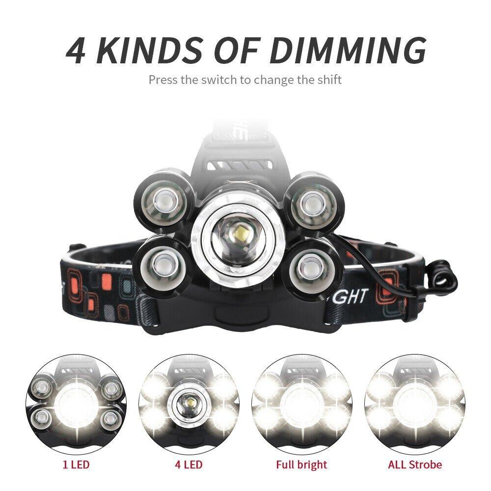 90000LM-5-Head-XM-L-T6-LED-Headlamp-Long-Shot-Headlight-Flashlight-Head-Torch thumbnail 20