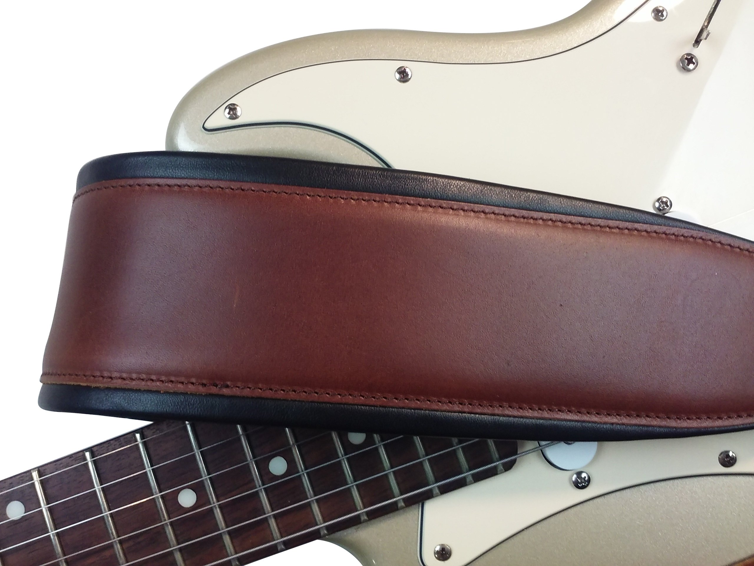 Quality-Leather-2-5-and-3-034-Wide-Acoustic-Electric-Guitar-Bass-Strap-Thick-Padded miniature 25