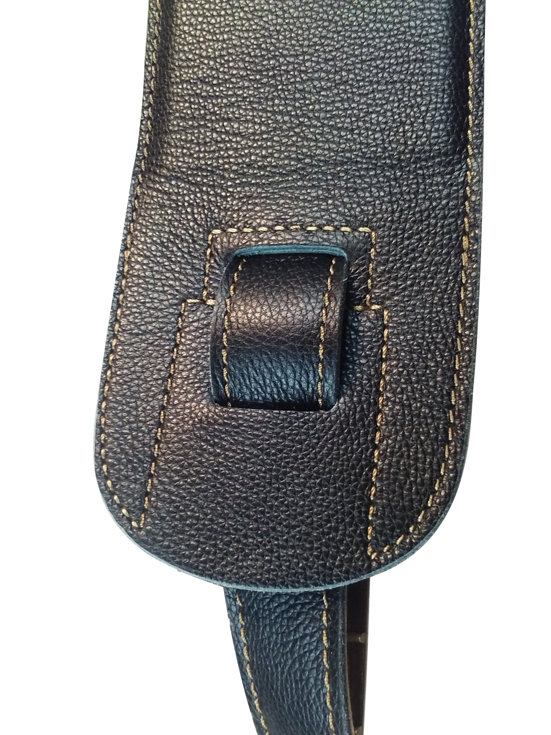 Quality-Leather-2-5-and-3-034-Wide-Acoustic-Electric-Guitar-Bass-Strap-Thick-Padded miniature 20