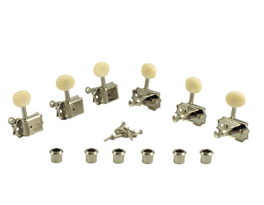 Kluson 3+3 Guitar Tuning Pegs Machine Nickel Plastic Oval Buttons Gibson Guitars