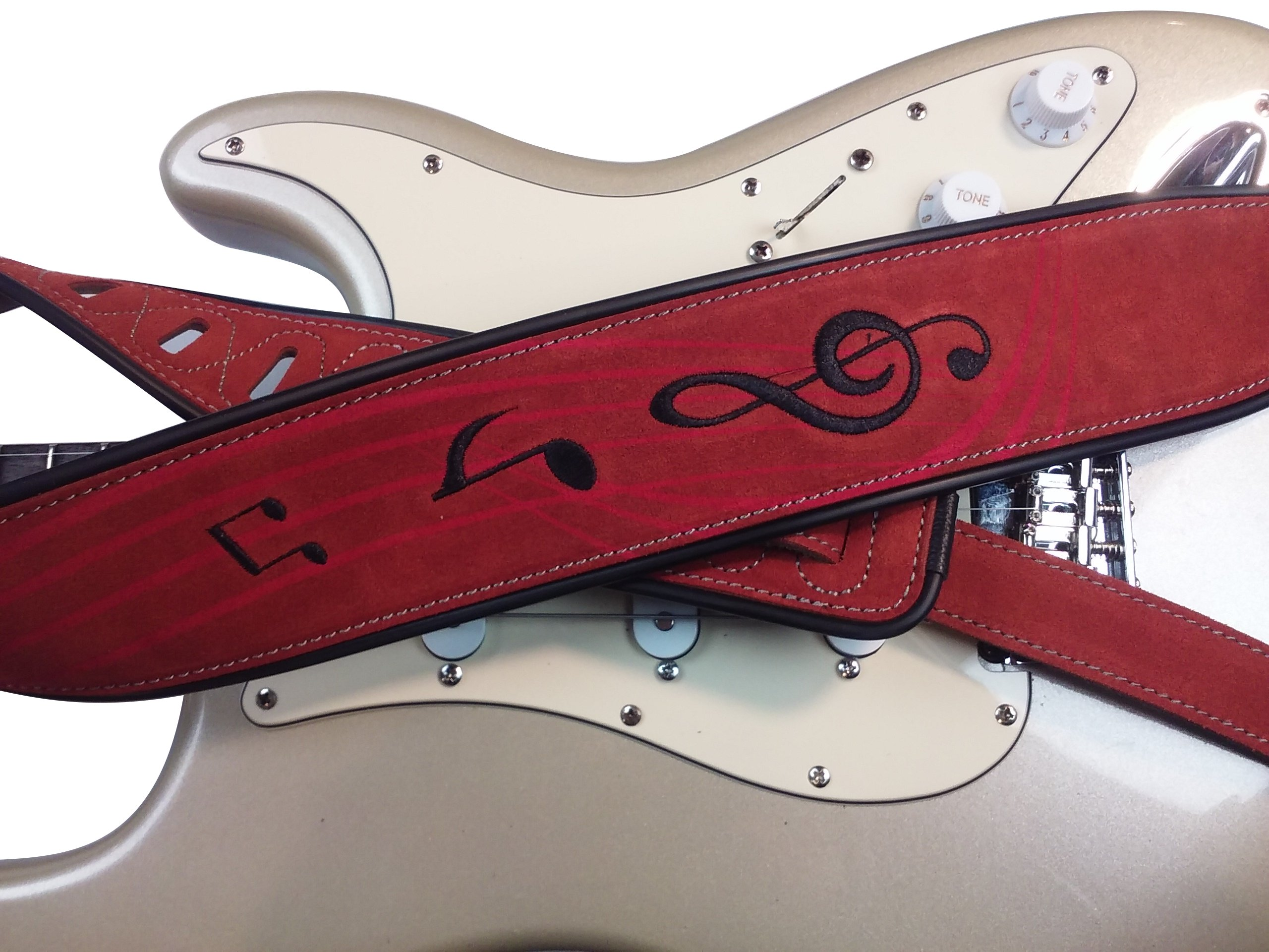 Quality-Leather-2-5-and-3-034-Wide-Acoustic-Electric-Guitar-Bass-Strap-Thick-Padded miniature 31