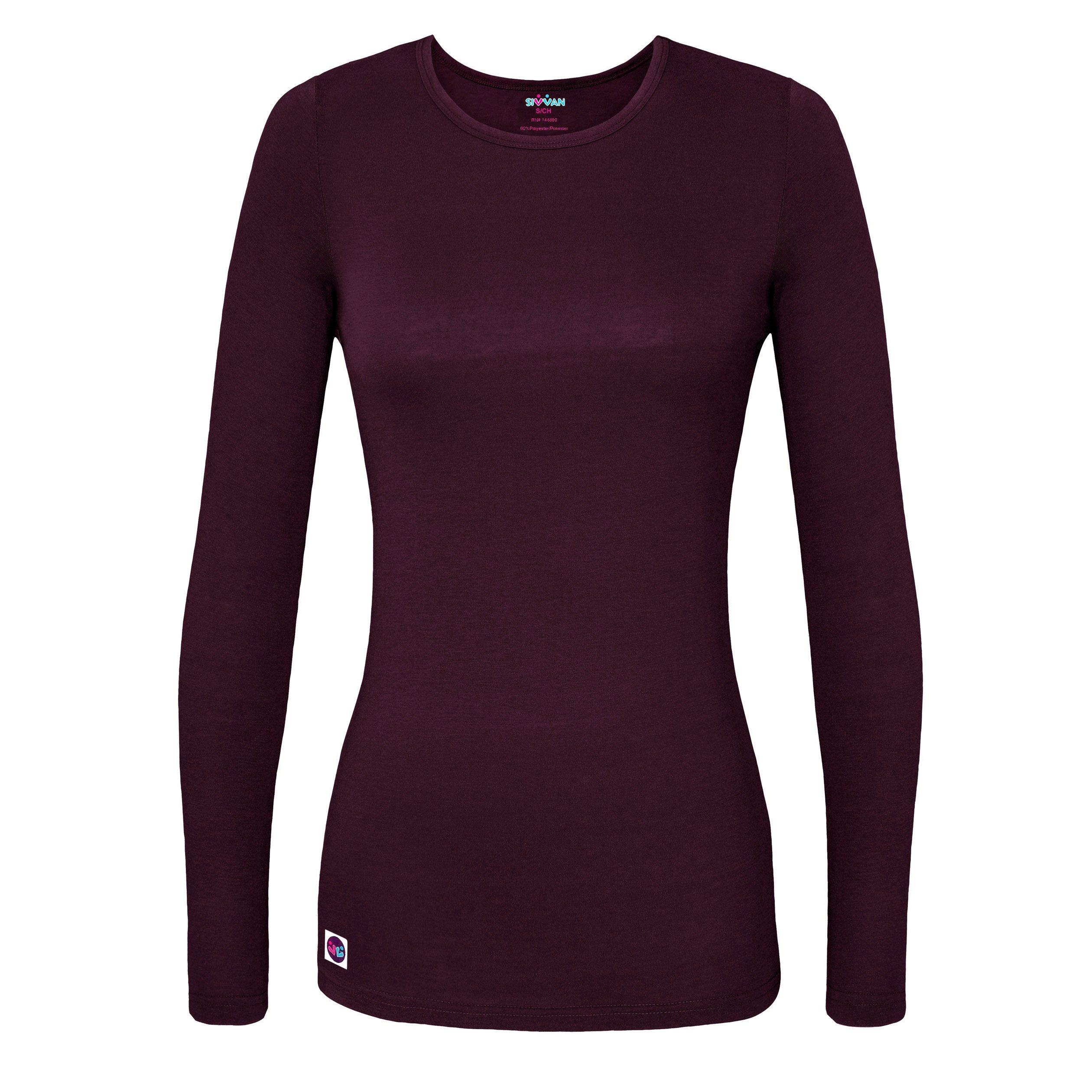 Sivvan women s comfort long sleeve t shirt underscrub tee for Womens long sleeved t shirts