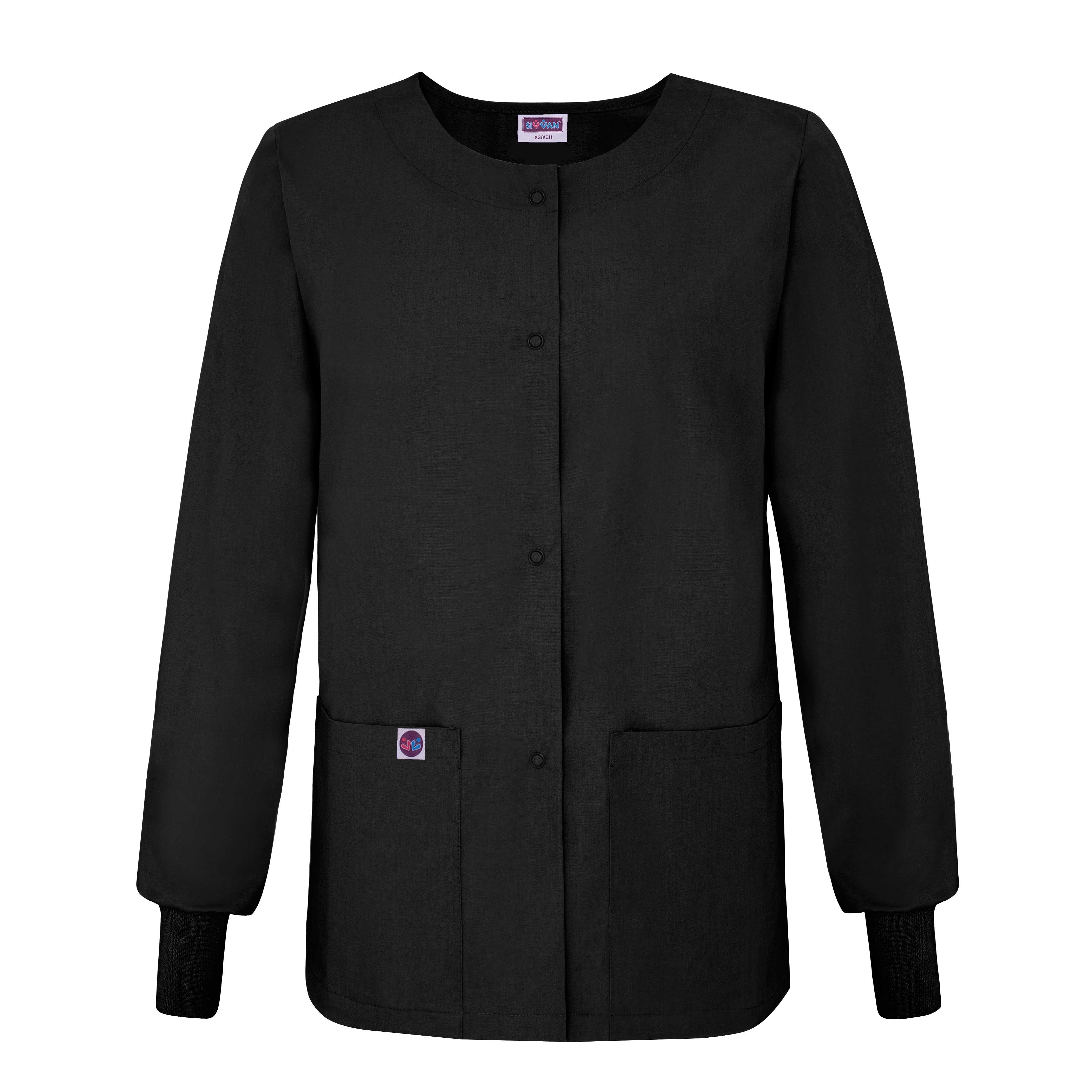S8306 S Sivvan Womens Scrubs Warm-Up Jacket//Front Snaps Khaki Round Neck