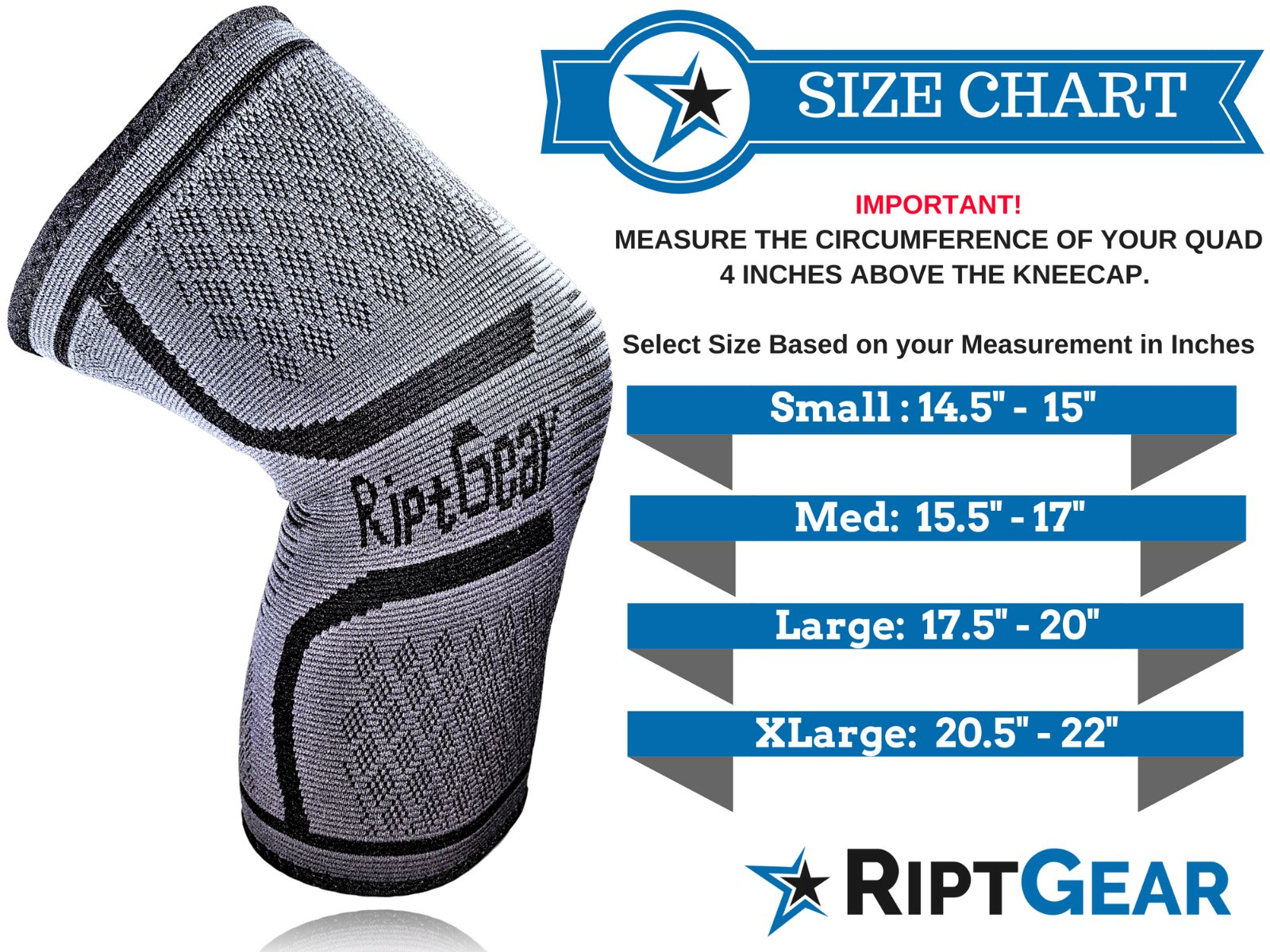 NEW-Knee-Compression-Sleeve-for-Men-and-Women-by-RiptGear-Knee-Brace-Support thumbnail 35