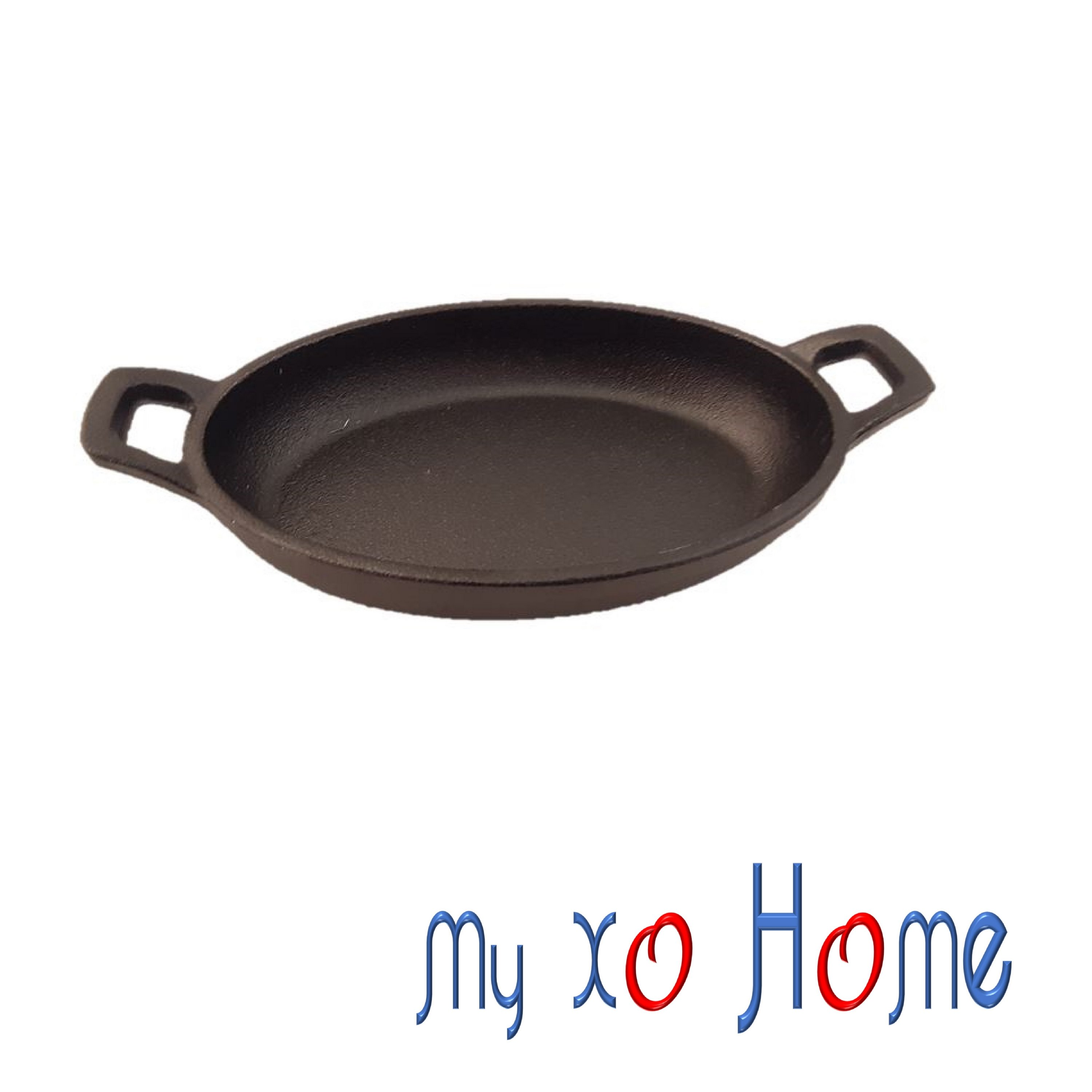 MyXOHome Oval Cast Iron Frying Pan / Skillet with Handles