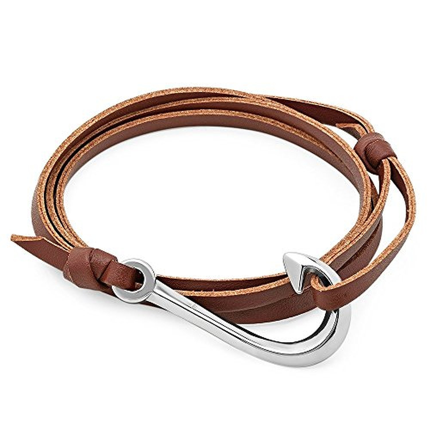 Steeltime men 39 s leather wrap around bracelet with for Leather fish hook bracelet