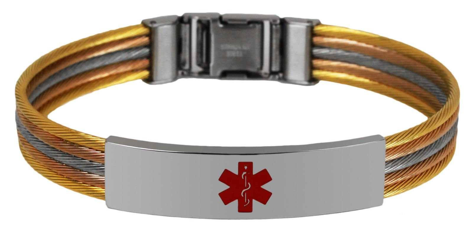 New Tri Color Gold Finish Amp Stainless Steel Engravable