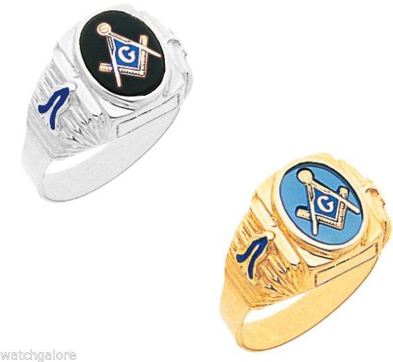 Solid-Back-10k-or-14k-Yellow-or-White-Gold-Masonic-Freemason-Blue-Lodge-Ring