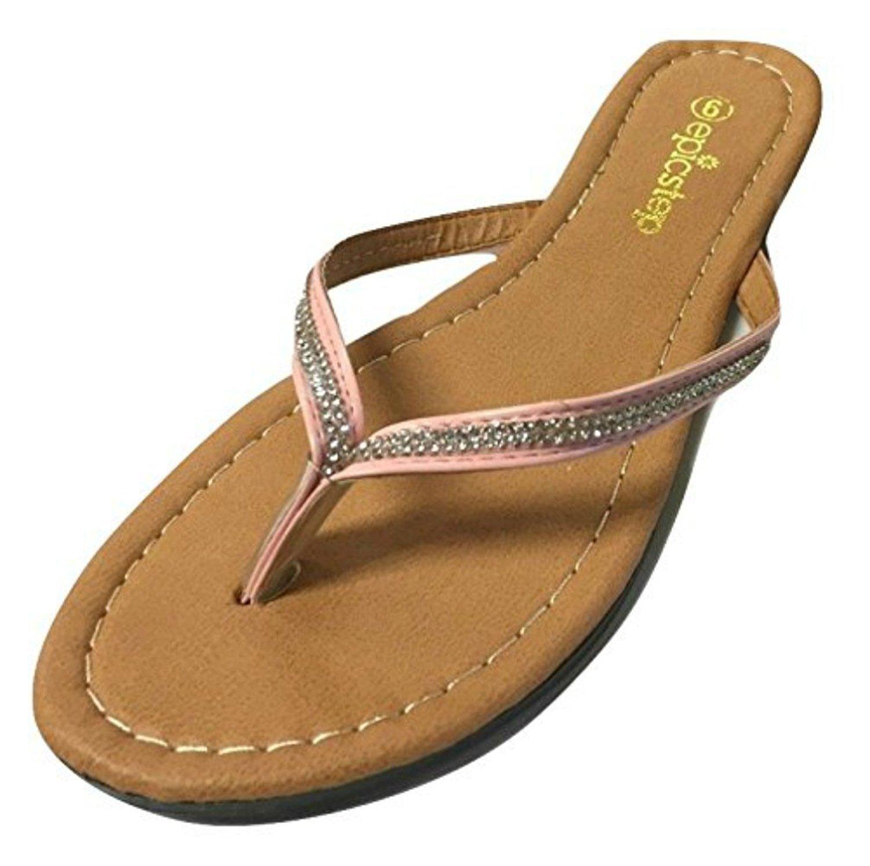 Womens Studed Rhinestone And Faux Vegan Leather T Strap Flip Flop Sandal Shoe  Ebay-1917