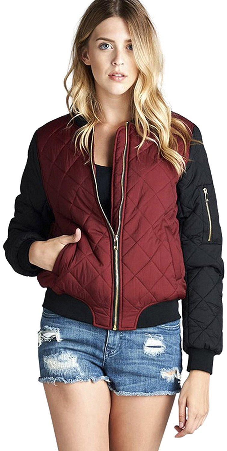 Tobeinstyle Womens Nylon Contrast Quilted Padded Bomber Jacket Ebay
